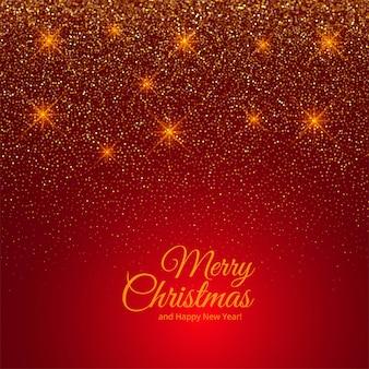 Cartão de feliz natal glitter dourados no vermelho