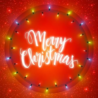 Cartão de feliz natal, iluminado círculo de luzes de guirlanda brilhante e letras
