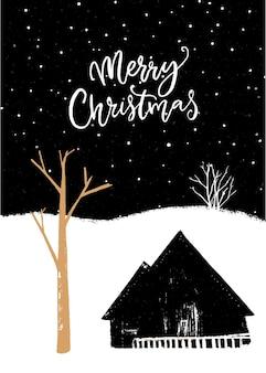Cartão de feliz natal. ilustração a preto e branco com árvore de ouro e casa de campo da aldeia. cenário noturno.