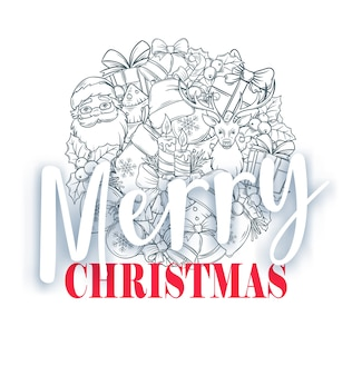 Cartão de feliz natal, ilustração vetorial. presente de natal, sinos, chapéu, veado e árvore de natal.