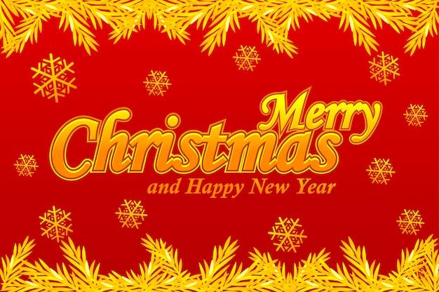 Cartão de feliz natal logotipo dourado do vetor neve e árvore de natal com fundo vermelho