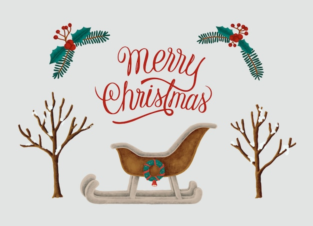 Cartão de feliz natal mão desenhada
