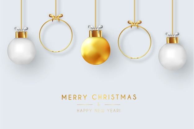 Cartão de feliz natal moderno com bolas de natal realistas