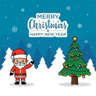 Cartão de feliz natal moderno com o papai noel
