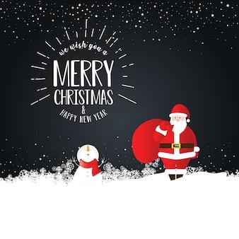 Cartão de feliz natal papai noel