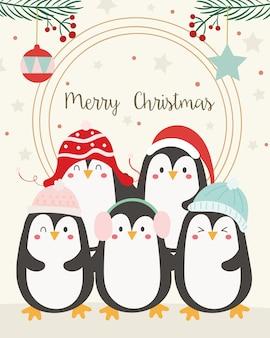 Cartão de feliz natal. pinguins.