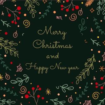 Cartão de feliz natal. quadros florais e design de fundos. ilustração vetorial.