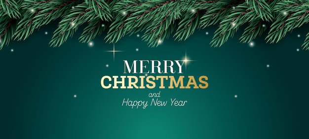 Cartão de feliz natal. ramo de abeto com luzes de néon
