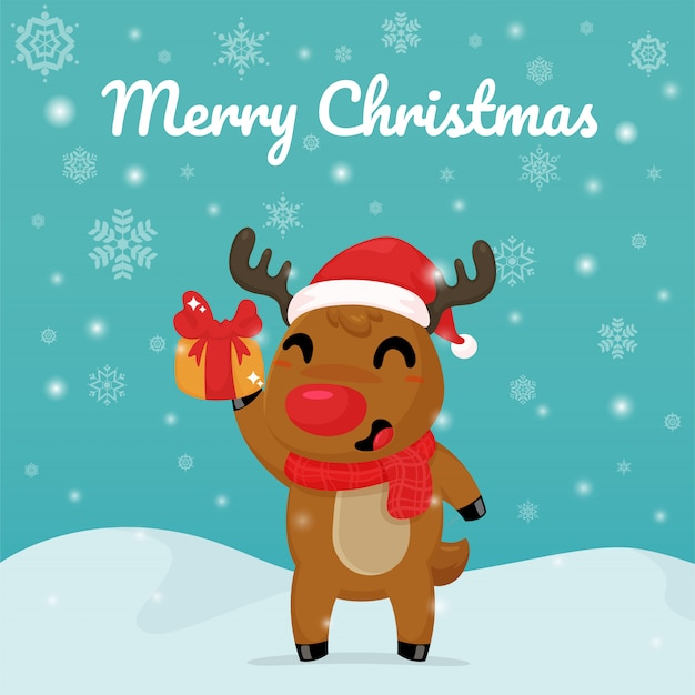 Cartão de feliz natal, rena dos desenhos animados, segurando uma caixa de presente.