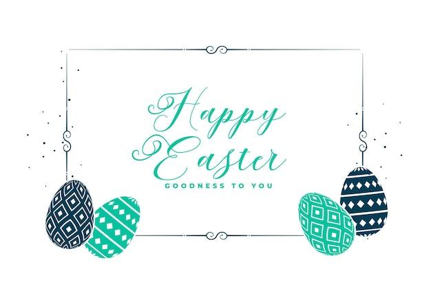 Cartão de feliz páscoa branco com ovos decorativos