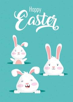 Cartão de feliz páscoa celebração com caracteres de coelhos