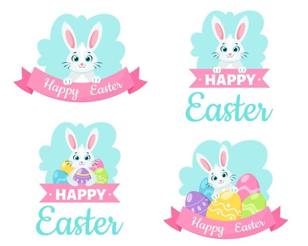 Cartão de feliz páscoa. coelhinho com ovos de páscoa.