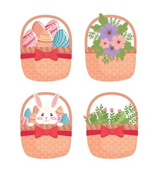 Cartão de feliz páscoa com cestas de flores e ilustração de ovos