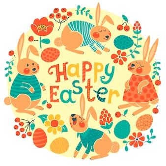 Cartão de feliz páscoa com coelhinhos fofos e ovos coloridos.