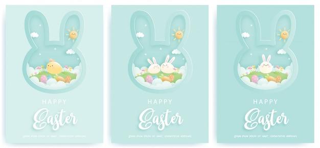Cartão de feliz páscoa com coelhinhos fofos.