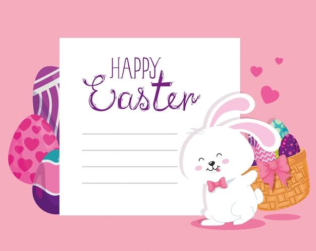 Cartão de feliz páscoa com coelho e ovos decorados