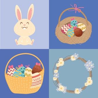 Cartão de feliz páscoa com coelho e ovos em design de ilustração de cestas