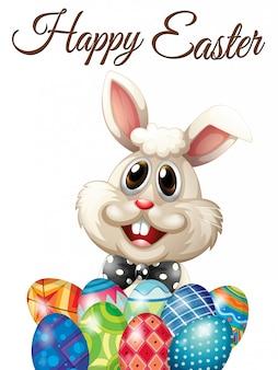 Cartão de feliz páscoa com coelho e ovos