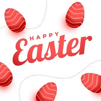 Cartão de feliz páscoa com decoração de ovos vermelhos