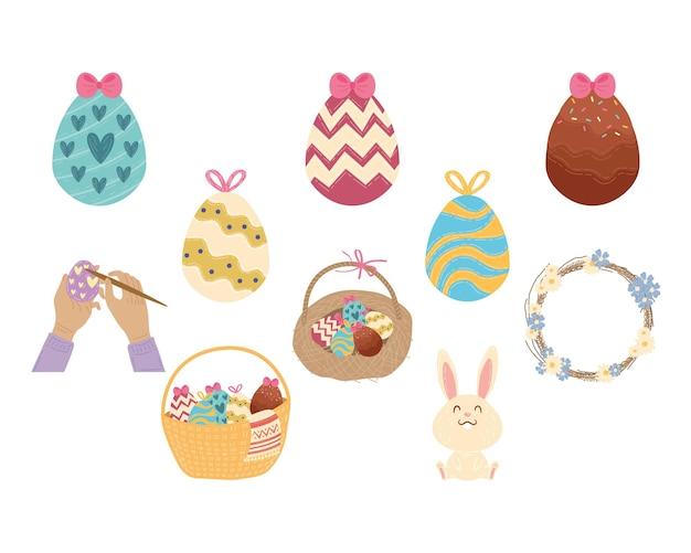 Cartão de feliz páscoa com design de ilustração de conjunto de ícones