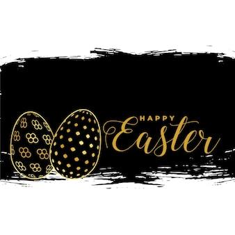 Cartão de feliz páscoa com design de ovos de ouro