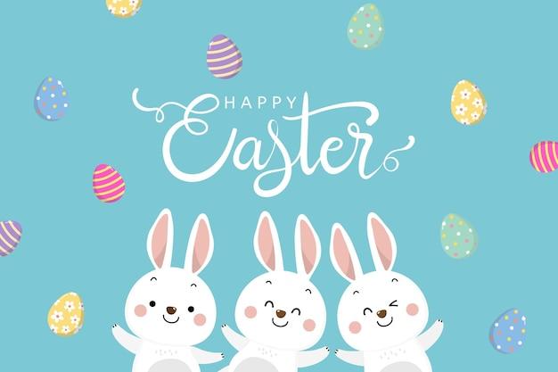 Cartão de feliz páscoa com ilustração de coelhinha branca