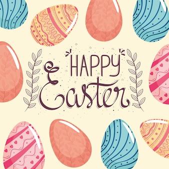 Cartão de feliz páscoa com letras e ilustração de padrão pintado de ovos