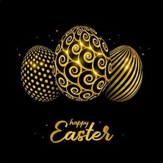 Cartão de feliz páscoa com ovo de páscoa decorado com ouro