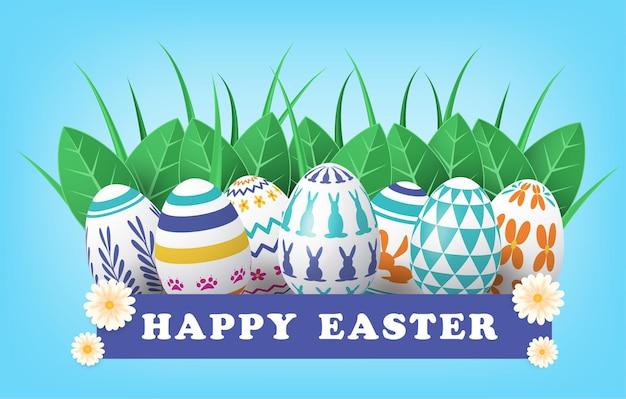 Cartão de feliz páscoa com ovos coloridos pintados