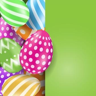 Cartão de feliz páscoa com ovos coloridos, vetor