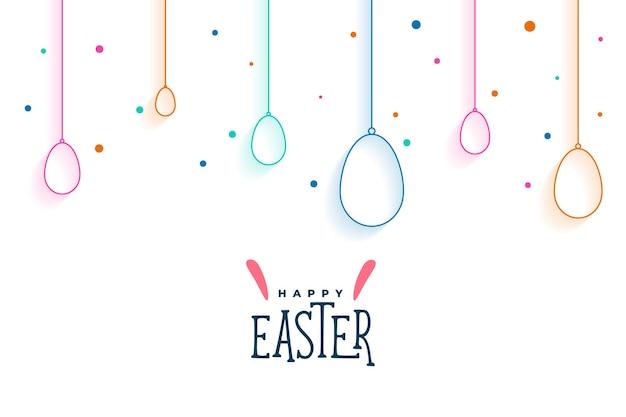 Cartão de feliz páscoa com ovos coloridos