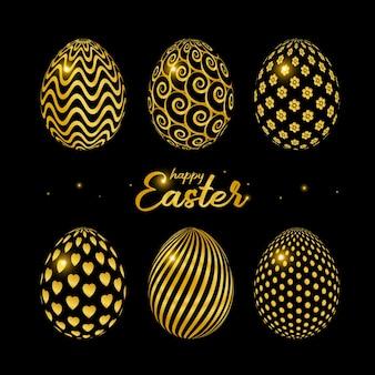 Cartão de feliz páscoa com ovos de páscoa decorados em ouro