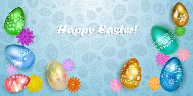 Cartão de feliz páscoa com ovos de páscoa em várias cores com decoração colorida Vetor Premium