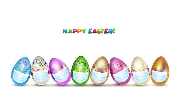 Cartão de feliz páscoa com ovos de páscoa em várias cores com máscaras médicas