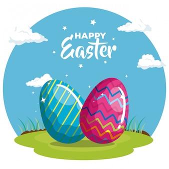 Cartão de feliz páscoa com ovos decorados em design de ilustração vetorial de grama