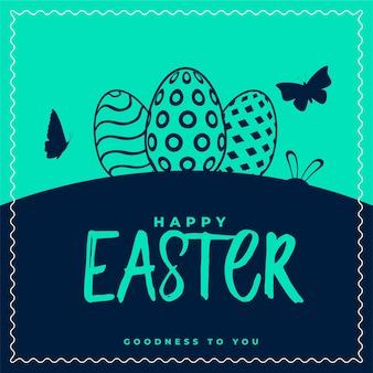 Cartão de feliz páscoa com ovos e desenho de borboleta