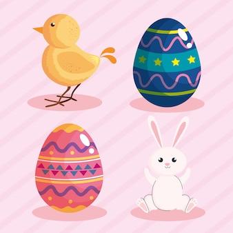 Cartão de feliz páscoa com ovos pintados e ilustração de animais.