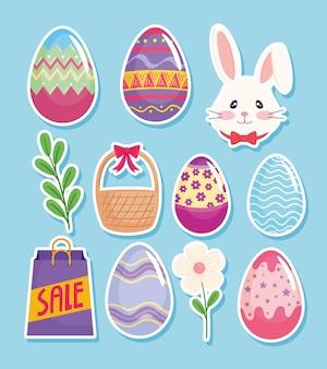 Cartão de feliz páscoa com ovos pintados e ilustração de conjunto de ícones