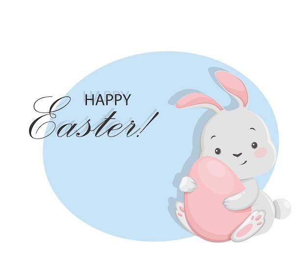 Cartão de feliz páscoa com personagem de desenho animado coelhinho segurando um ovo