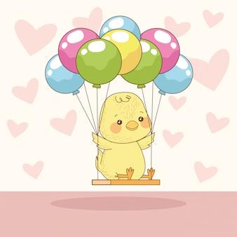 Cartão de feliz páscoa com pintinho no hélio de balões