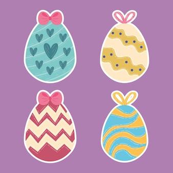 Cartão de feliz páscoa com quatro ovos pintados de ilustração vetorial
