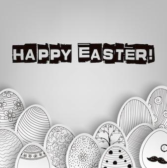 Cartão de feliz páscoa com rabiscos de ovo de páscoa