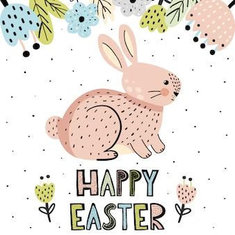 Cartão de feliz páscoa com um coelhinho fofo