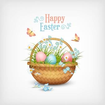 Cartão de feliz páscoa com uma cesta cheia de ovos e flores da primavera Vetor Premium