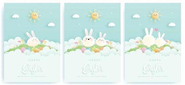 Cartão de feliz páscoa conjunto com coelhinha e ovos de páscoa. ilustração.