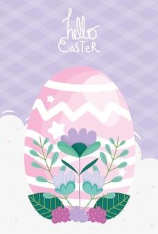 Cartão de feliz páscoa, decoração de ovo rosa e folhagem de flores