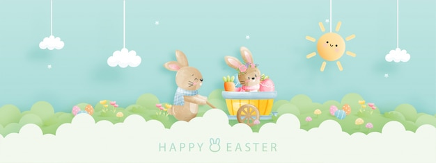 Cartão de feliz páscoa em aquarela com ilustração de coelho.