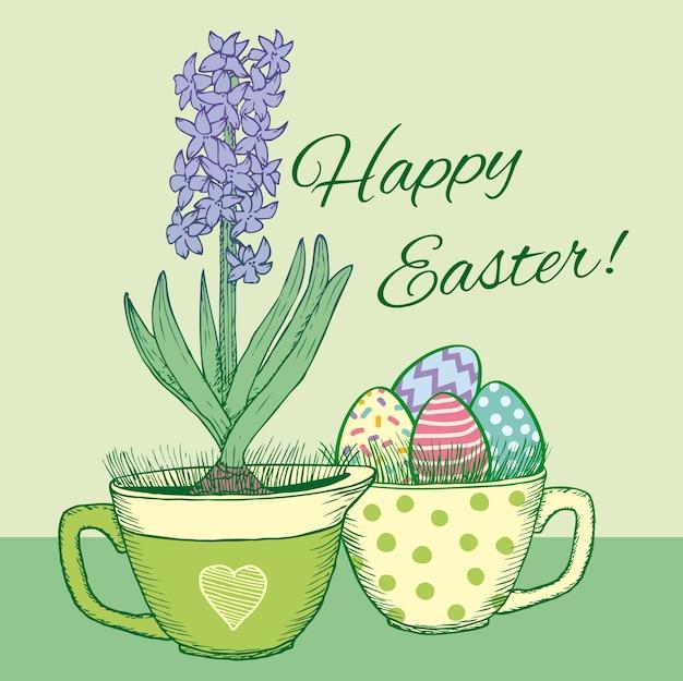 Cartão de feliz páscoa floral desenhado à mão com jacinto natural florescendo na panela e ovos ornamentados na caneca