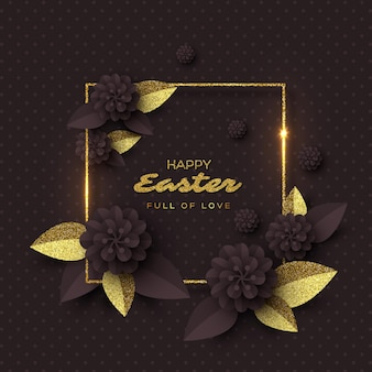Cartão de feliz páscoa. flores de corte de papel com moldura de glitter dourado.