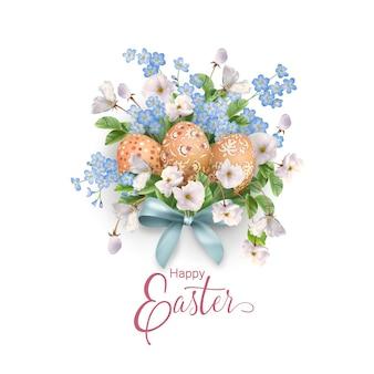Cartão de feliz páscoa. flores e ovos da primavera